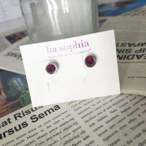 Lia Sophia Silver Tone Vintage Red Stud Earrings
